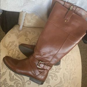 BROWN FAUX LEATHER WIDE CALF RIDING BOOTS